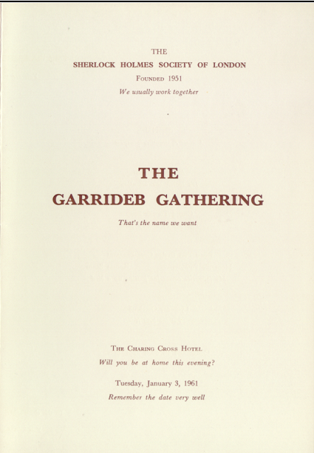 1961 Garrideb Gathering Menu 1