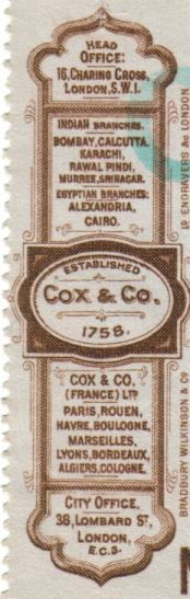 Cox & Co. – Bankers to Dr. John H. Watson