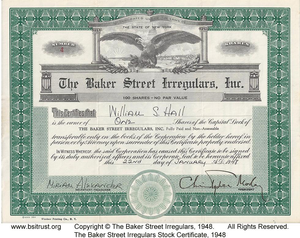Stock Certificates of the BSI