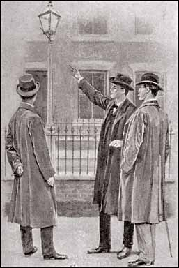 Holmes pointed to the street lamp above our heads. - Illustration by Sidney Paget in The Strand Magazine, May 1904
