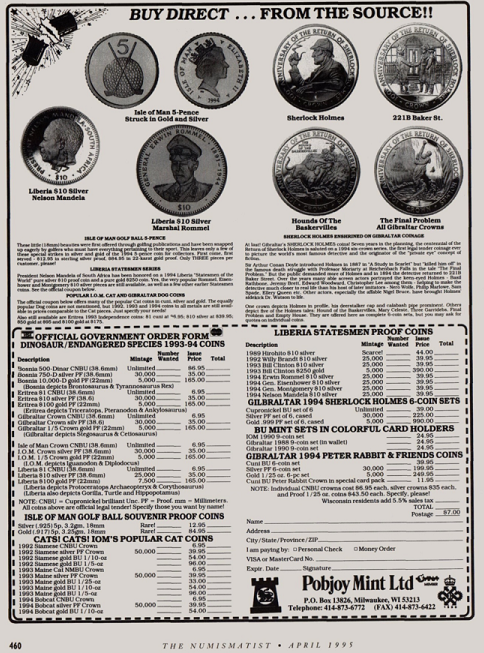 Pobjoy Mint advertisement from the April 1995 issue of The Numismatist featuring the Gibraltar Sherlock Holmes coins