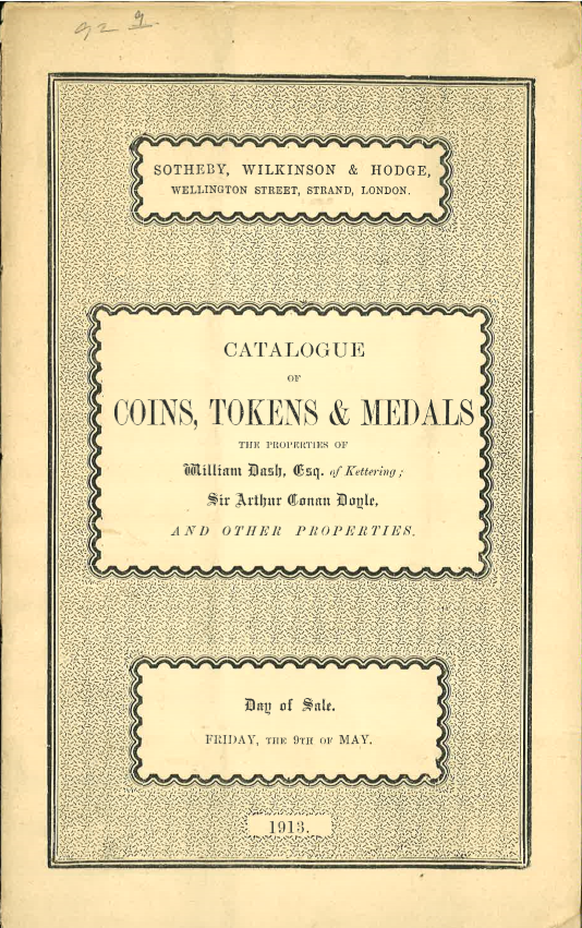 Sotheby's May 9, 1913 Cataloging of Arthur Conan Doyle's Coins