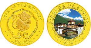 2016-Bhutan-Gold-1000-ngultrum-monkey-coin