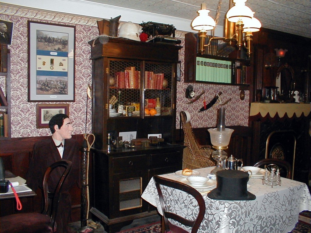 Bookcase and bust of Holmes ~ 221B in Reading