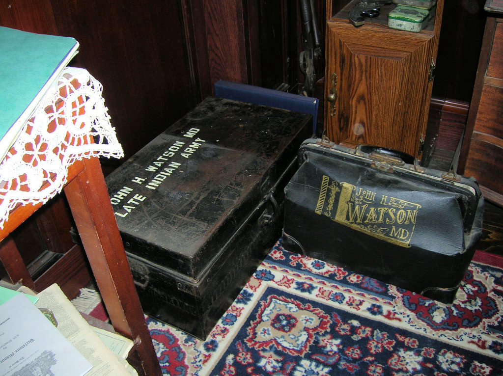 Watson's battered tin dispatch box and medical bag ~ 221B in Reading