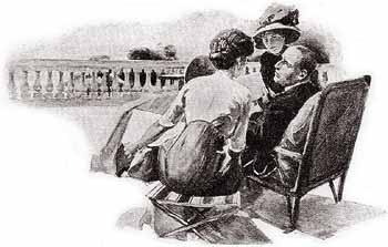 He spent his day upon a lounge-chair on the veranda, with an attendant Lady upon either side of him. - Illustration by Alec Ball in The Strand Magazine, December 1911