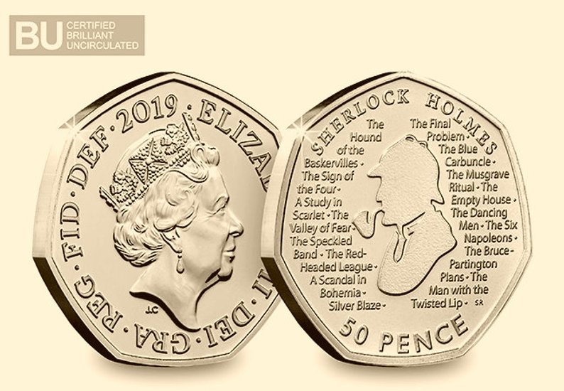 Gold Plated Versions of the 2019 Sherlock Holmes 50 Pence Coin