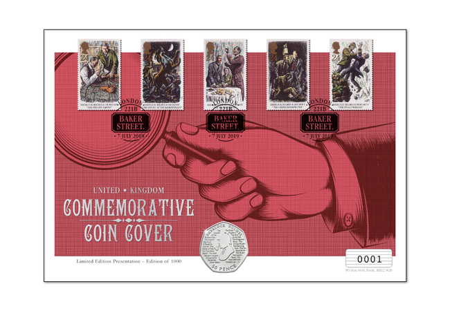 2019 Sherlock Holmes 50 Pence Philatelic Covers & Encapsulations from the Westminster Collection