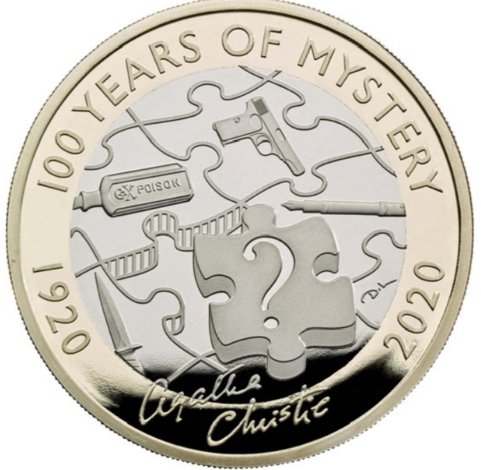 British Royal Mint Issues 2020 Agatha Christie 2 Pounds Coin