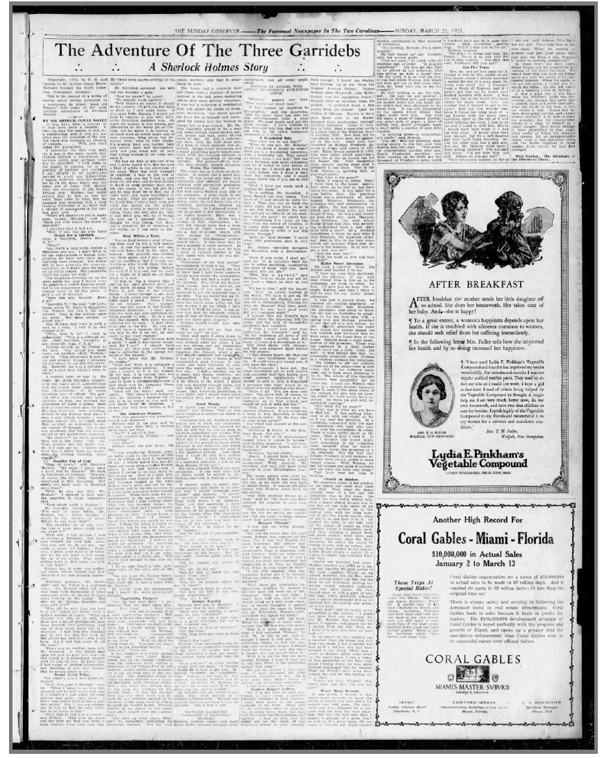 Charlotte Observer Published The Three Garridebs on March 22, 1925