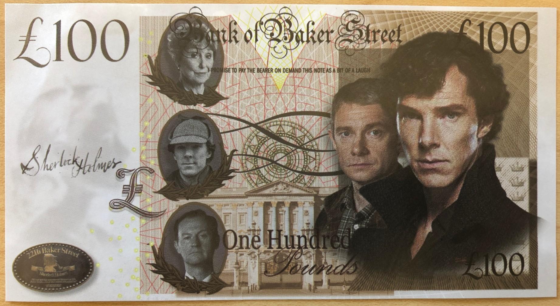 Fantasy £100 Bank of Baker Street Notes Feature BBC Sherlock Cast