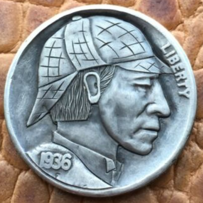 Another Sherlockian Hobo Nickel by Rima G