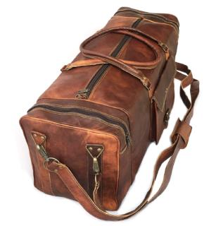 28 Inch Real Goat Vintage Leather Travel Bag
