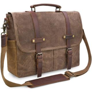 Mens 15.6 in Vintage Leather  Waxed Canvas Laptop Messenger Bag