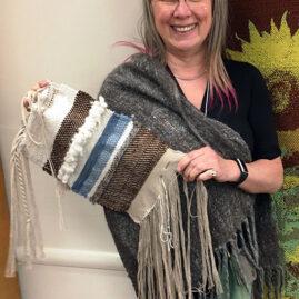 Galina's alpaca handspun shawl and sampler