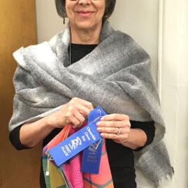 Trudie's shawl and dishtowels