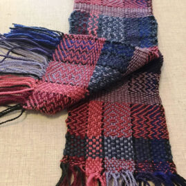 Goldie Pitre's Wool Scarf in Twill and Basket Weave