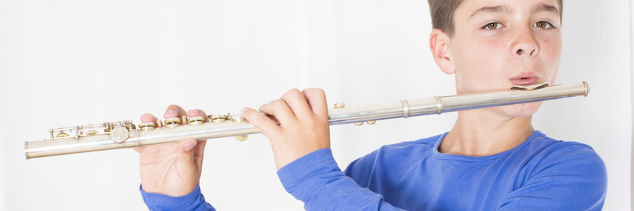 Flute student playing at Scherzo Music School in San Mateo and the Peninsula