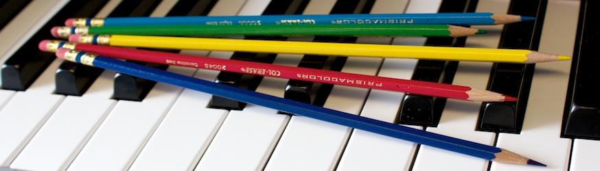 color pencils on a piano at Scherzo Music School in San Mateo, California