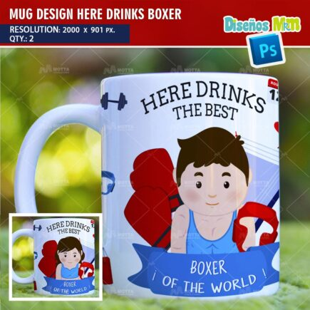 DESIGN SUBLIMATION HERE DRINKS BOXER