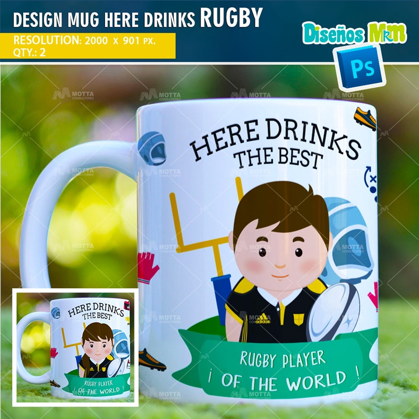 DESIGN SUBLIMATION HERE DRINKS THE BEST RUGBY PLAYER