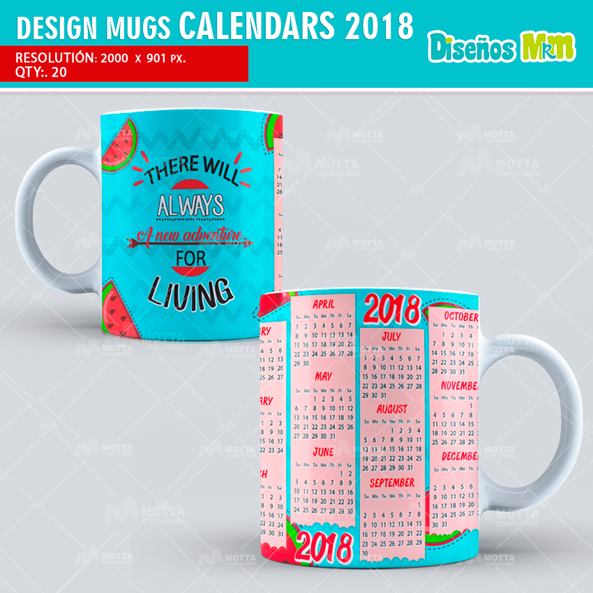 DESIGN SUBLIMATION MUGS CALENDARS 2018