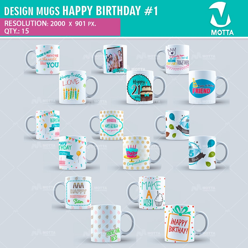 DESIGN FOR SUBLIMATION OF MUGS HAPPY BIRTHDAY #1