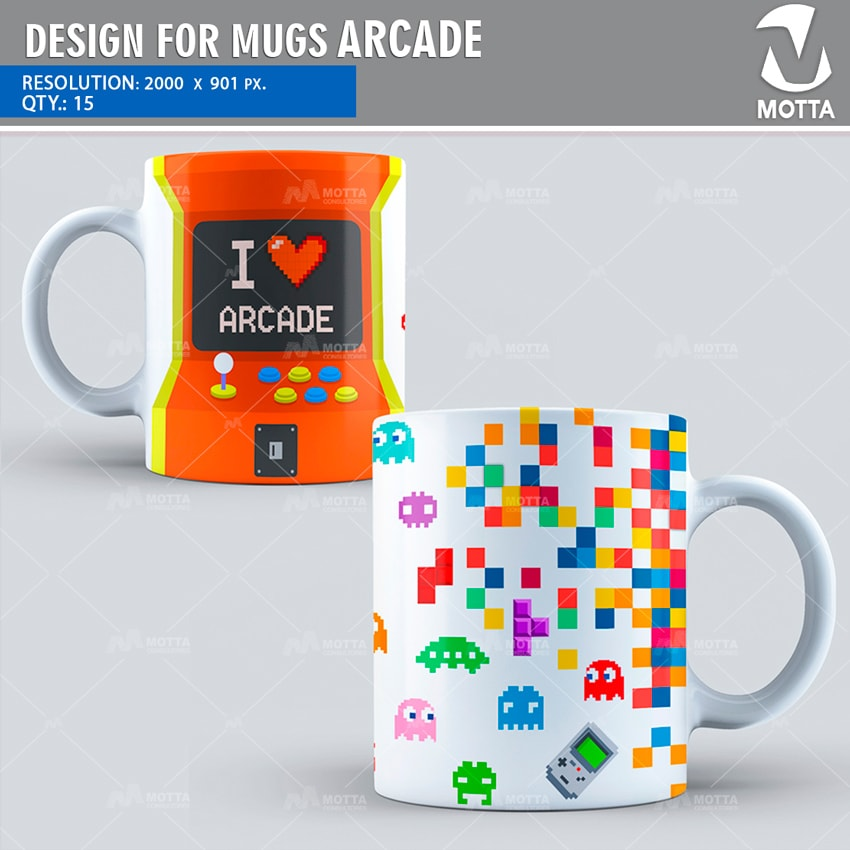 DESIGN FOR SUBLIMATION MUGS OF ARCADE