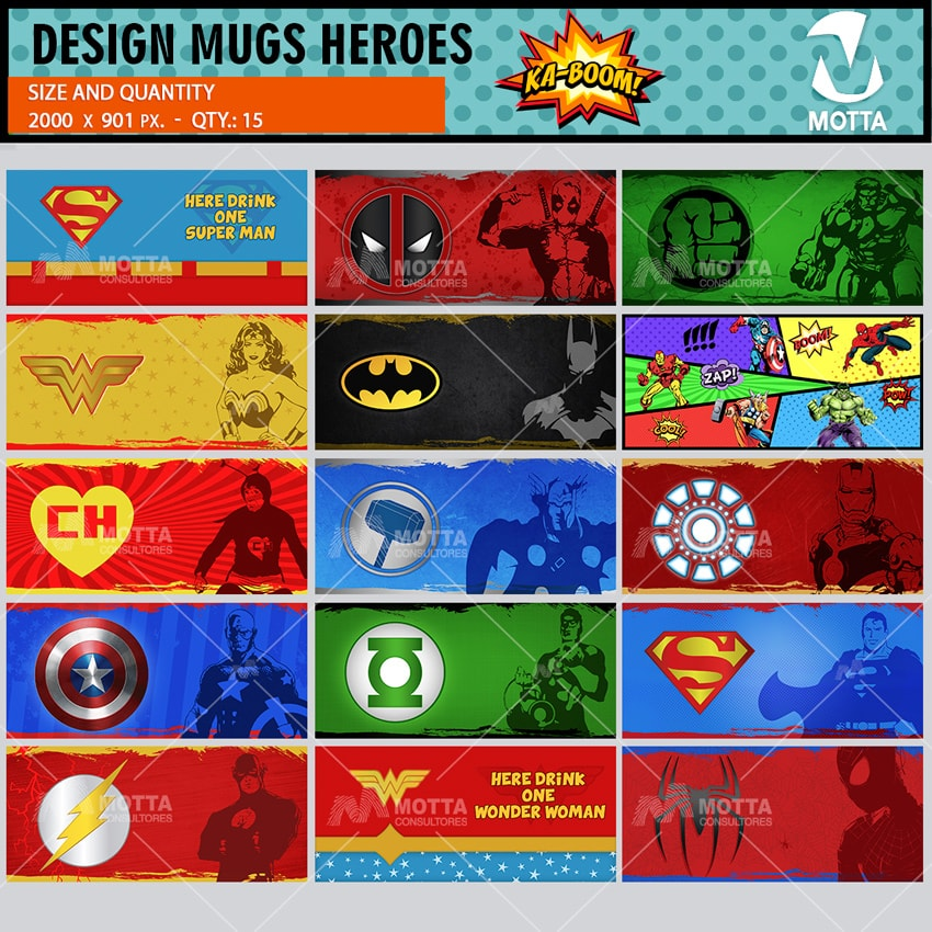 DESIGN FOR SUBLIMATION MUGS OF HEROES COMICS