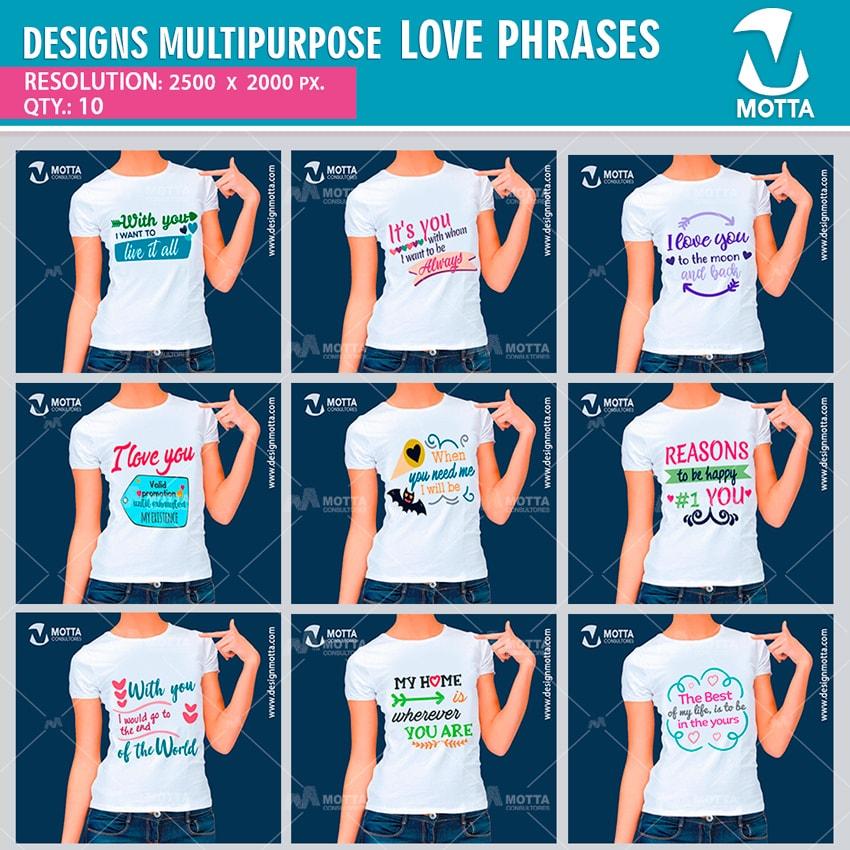 DESIGN SUBLIMATION MULTIPURPOSE LOVE PRHASES