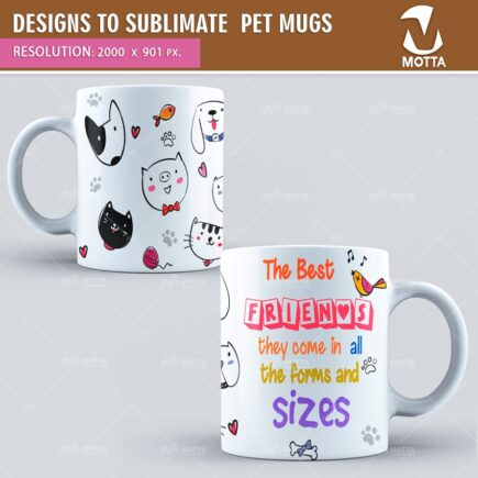 DESIGN FOR SUBLIMATION OF MUGS PETS