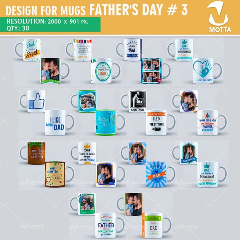 DESIGN FOR SUBLIMATION OF MUGS FATHER'S DAY