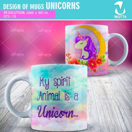 DESIGN FOR SUBLIMATION OF MUGS UNICORNS