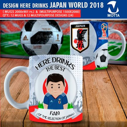DESIGN OF MUGS THE BEST FAN OF JAPAN IN RUSSIA 2018