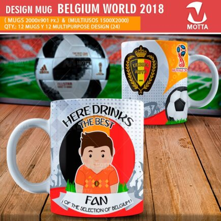 DESIGN OF MUGS THE BEST FAN OF BELGIUM IN RUSSIA 2018