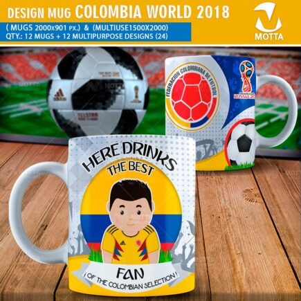 DESIGN OF MUGS THE BEST FAN OF COLOMBIA IN RUSSIA 2018
