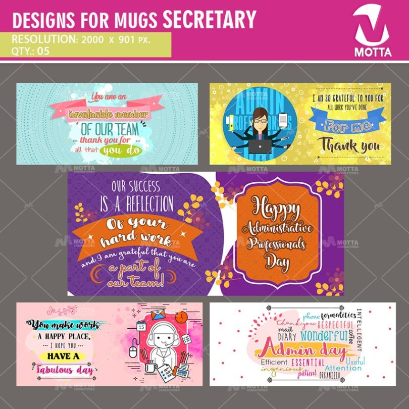 DESIGNS FOR SUBLIMATION OF MUGS OF SECRETARY