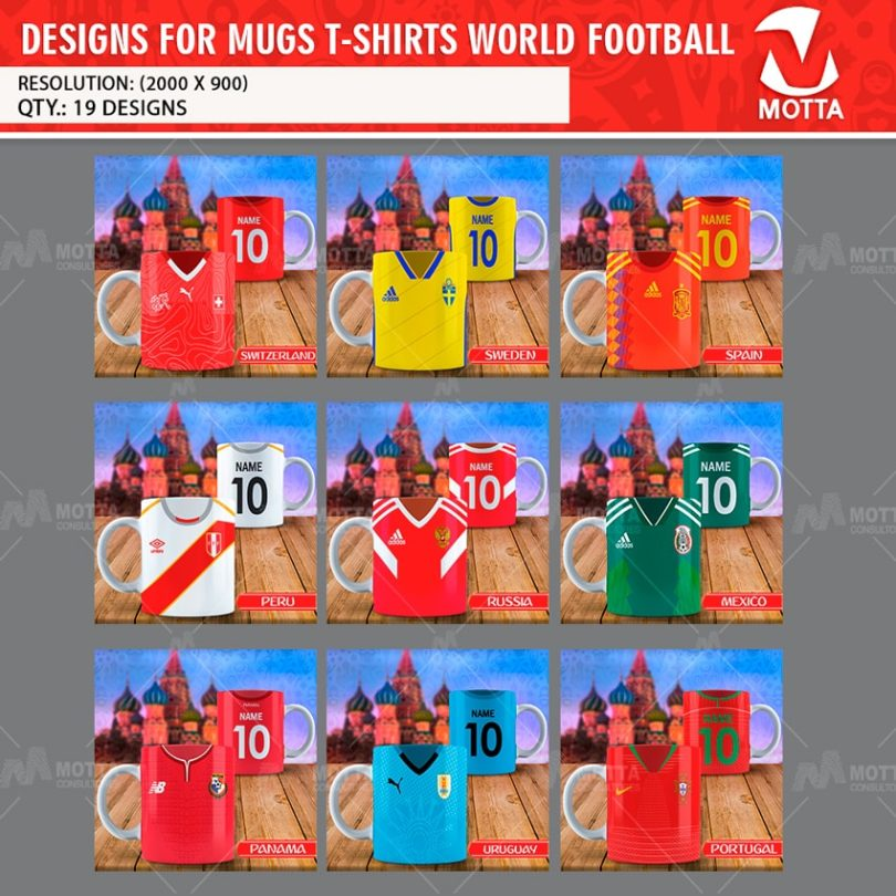 DESIGN FOR MUGS WORLD FOOTBALL T-SHIRTS