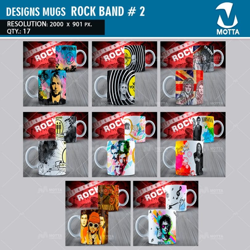 DESIGNS FOR THE SUBLIMATION OF MUGS ROCK BANDS