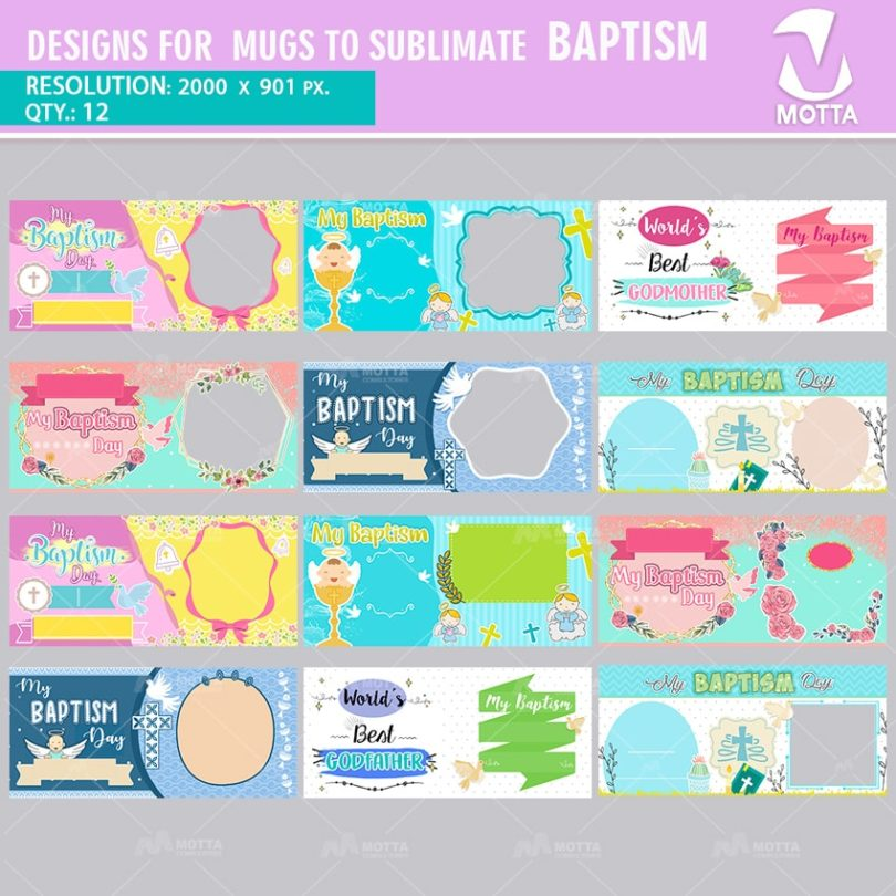 DESIGNS FOR MUGS TO SUBLIMATE BAPTISM