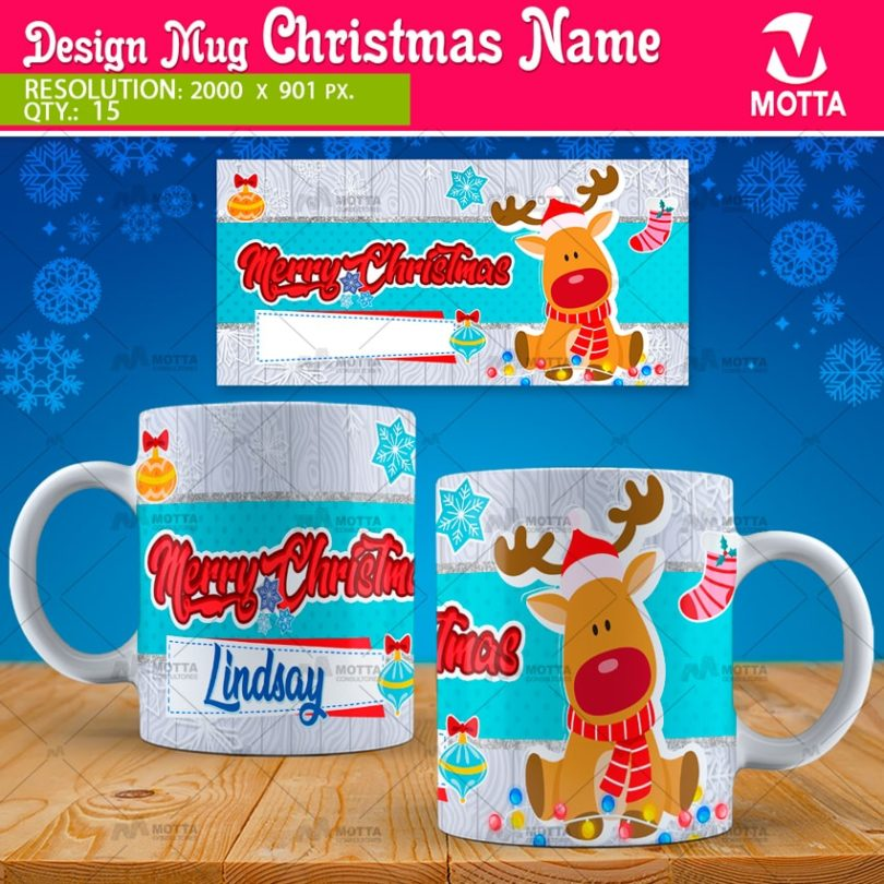 Merry Christmas DESIGNS FOR SUBLIMATION OF MUGS WITH NAME