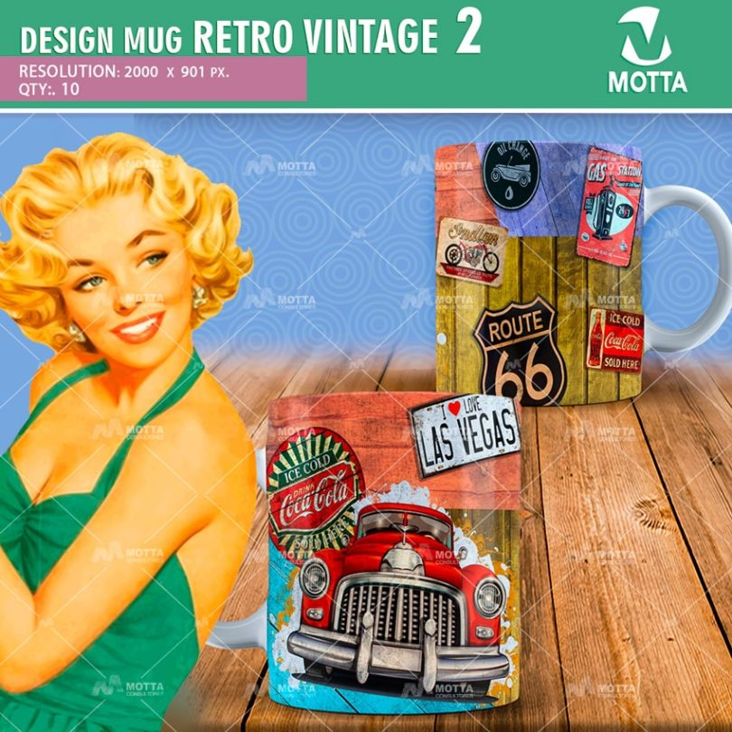 DESIGN FOR SUBLIMATION MUGS RETRO VINTAGE PACK N 2