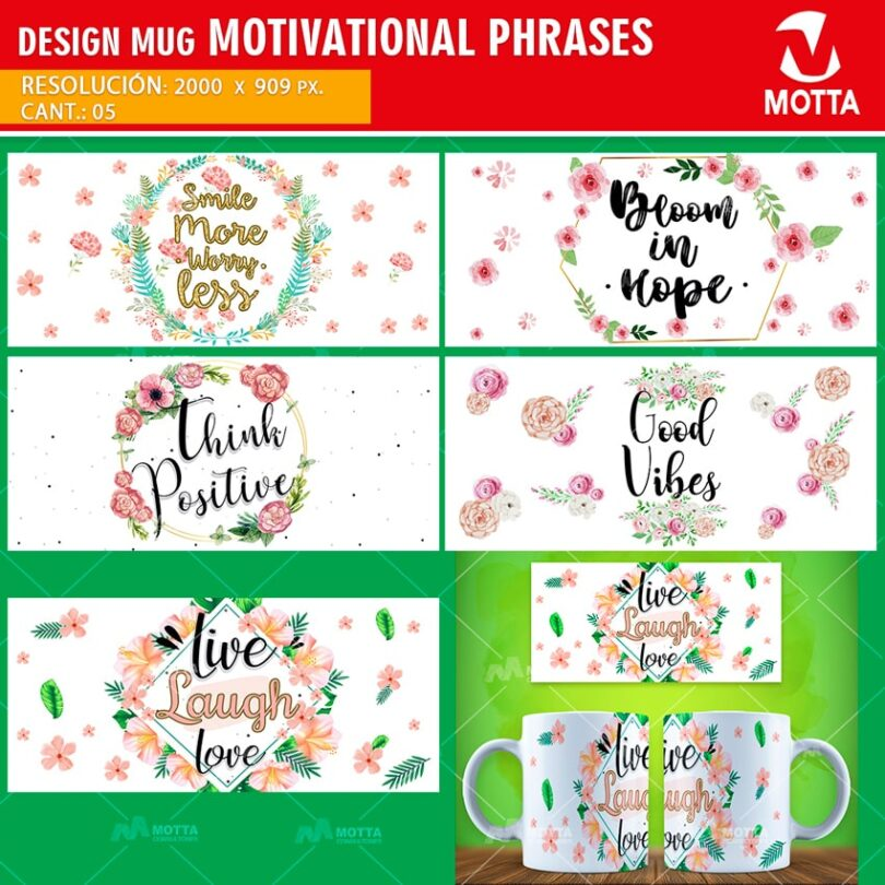 5 DESIGNS SUBLIMATION MUGS MOTIVATIONAL PHRASES