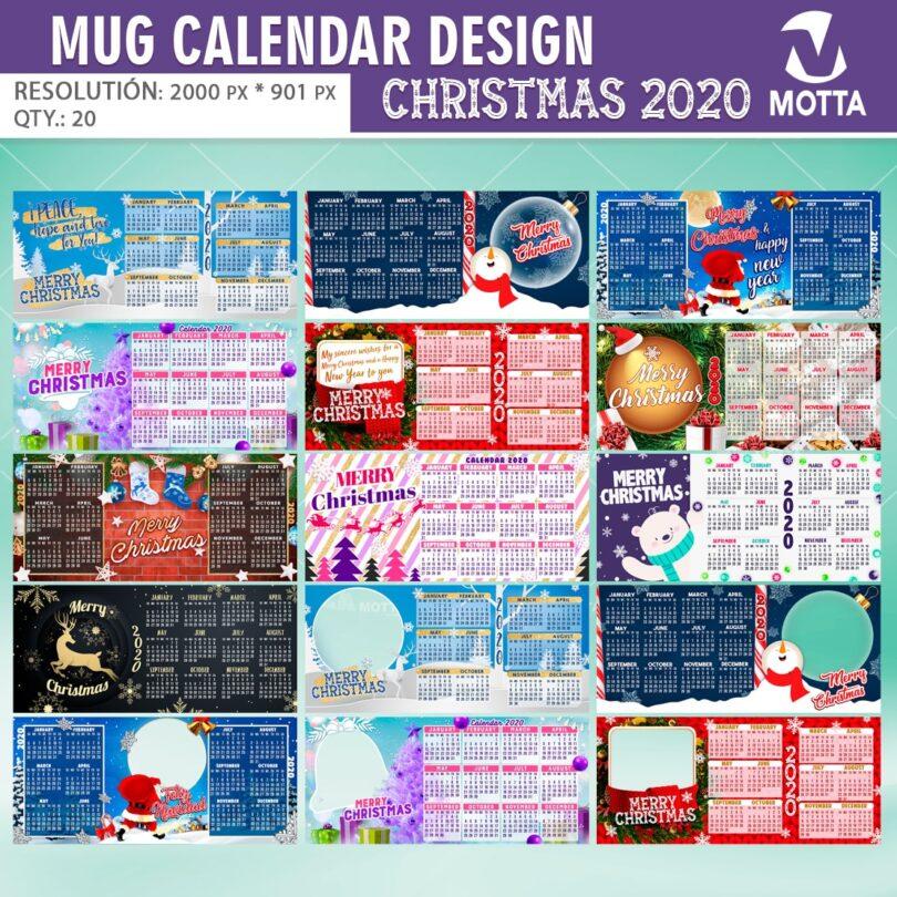 SUBLIMATION TEMPLATES MUG Calendar DESIGN CHRISTMAS 2020