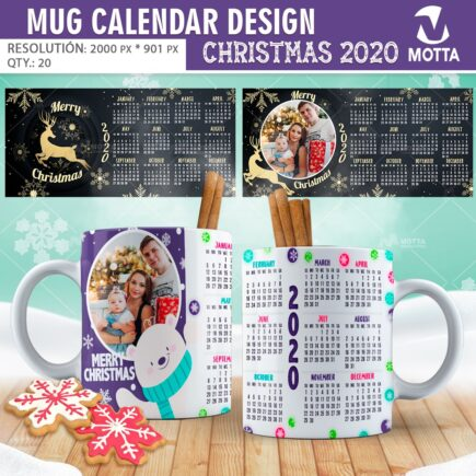 SUBLIMATION TEMPLATES MUG Calendar DESIGN CHRISTMAS 2020