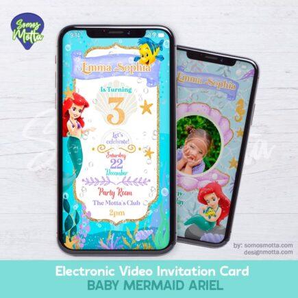 Electronic Video Card Invitation Baby Little Mermaid Ariel
