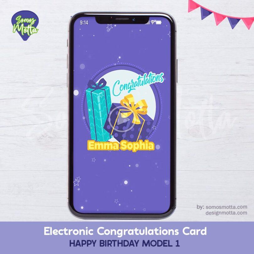 Electronic Congratulations Card Happy Birthday 1