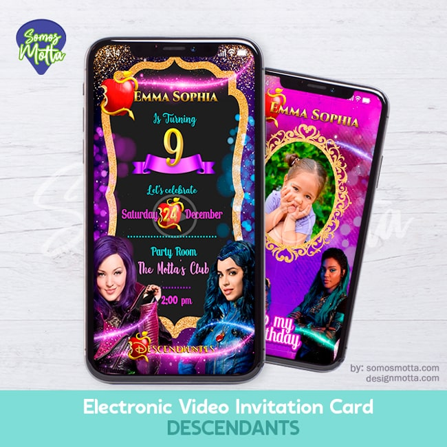 Electronic Video Card Invitation Disney Descendants