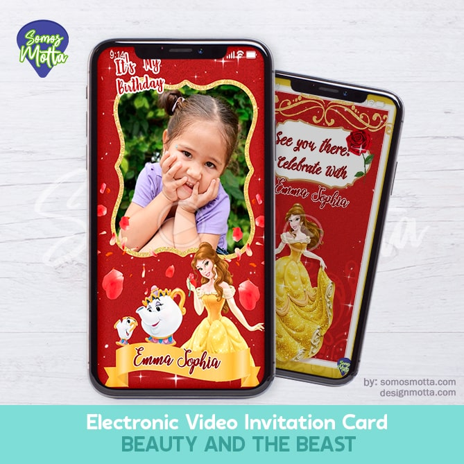 Electronic Video Card Invitation Princess Beauty and the Beast