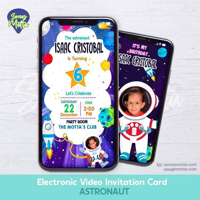 Electronic Video Card Invitation astronaut